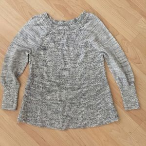 Lucky Brand Marled Gray raglan Sweater 3/4 sleeves